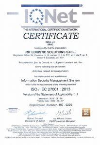 Certificat RIF LOGISTIC - IQNet 27001