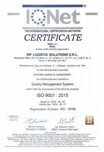 Certificat RIF LOGISTIC - IQNet 9001