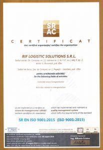 Certificat RIF LOGISTICS - SRAC 9001